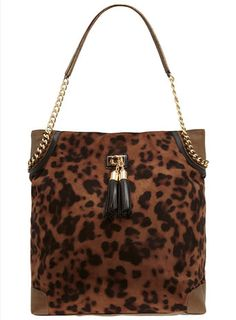Brown leopard chain slouch bag-loving the leopard print + tassles! Just $79