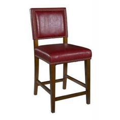Brook 30'' Bar Stool in Brown and Red - 0233RED-01-KD-U