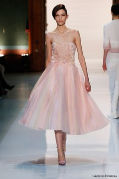 georges hobeika couture spring 2014 strapless pale pink tea length dress pearl beaded bodice
