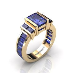 Items similar to Decorum Yellow Gold Ct Emerald and Baguette Cut Blue Sapphire Modern Engagement Ring on Etsy Art Deco Jewelry, Jewelry Rings, Jewelry Accessories, Jewelry Design, Birthstone Jewelry, Sapphire Jewelry, Beautiful Gold Rings, Modern Engagement Rings, Yellow Gold Rings