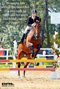 """""""Strength lies within the heart but the strength to trust lies between the horse and his rider"""" jumping horse quote"""