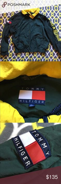 Vintage Tommy Hilfiger Windbreaker. X Large Vintage Tommy Hilfiger Mens Xlarge Green Sailing Jacket , Yellow Hood , Yellow Embroidered Letters. Jacket is in Mint condition, with no rip or stains. Tommy Hilfiger Jackets & Coats Windbreakers
