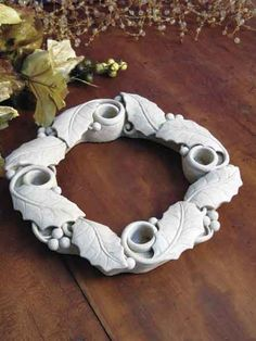 Celebrate with this Advent Wreath. Spaces for 4 taper candles, candles not included. Celebrate with this Advent Wreath. Spaces for 4 taper candles, candles not included. Advent Wreath Candles, Christmas Advent Wreath, Clay Christmas Decorations, Christmas Clay, Christmas Crafts, Advent Wreaths, Christmas Tables, Nordic Christmas, Reindeer Christmas