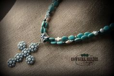 Elegant Western Necklace, Turquoise, Pearl, Cross, Cowgirl, Chic