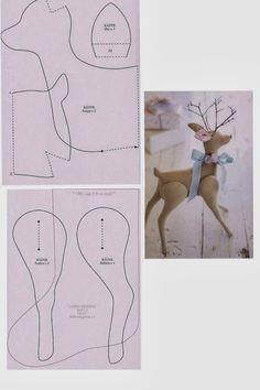 Animal Sewing Patterns, Stuffed Animal Patterns, Diy Stuffed Animals, Christmas Sewing, Christmas Crafts, Crochet Doll Tutorial, Rabbit Crafts, Felt Crafts Patterns, Christmas Gift Baskets