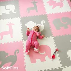 Safari Animals Kids Play Mat Sets with Borders Light Pink, Light Gray, White is part of Baby playroom - Safari Animals Kids Play Mat Sets with Borders Light Pink, Light Gray, White SafariNursery Lighting Elephant Nursery Girl, Girl Nursery, Elephant Baby, Nursery Room, Giraffe, Baby Playroom, Playroom Ideas, Playroom Decor, Safari Theme Nursery