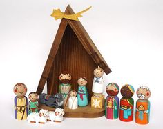 Cyber Monday Sale Childrens nativity set for Kids nativity set Peg doll nativity creche Christmas nativity set Wooden nativity set scene