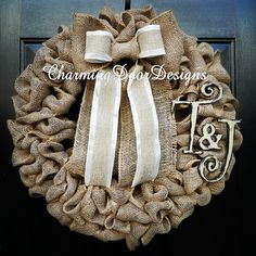 Custom order for a simple personalized burlap wreath for a housewarming gift by CharmingDoorDesigns on Etsy