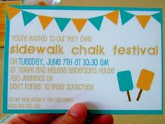sidewalk chalk party-cute idea!