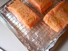 Seasoning the salmon (frozen, pictured)