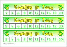 Here's an assortment of safari animal themed number tracks for skip counting by 2 to 20.