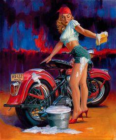 Harley-Davidson Pin Up Pin Up Girl Vintage, Photo Vintage, Vintage Pins, Harley Davidson, Biker Chick, Biker Girl, Motos Sexy, Rockabilly, David Mann Art