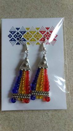 Romanian Flag, Drop Earrings, Jewelry, Jewlery, Jewerly, Schmuck, Drop Earring, Jewels, Jewelery