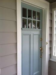 Smoke Embers exterior body, Wedgewood Gray door, Chantilly Lace trim (Benjamin Moore color scheme)
