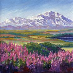 Denali And Fireweed Alaska Art Print by Karen Mattson. All prints are professionally printed, packaged, and shipped within 3 - 4 business days. Choose from multiple sizes and hundreds of frame and mat options. Watercolor Landscape Paintings, Oil Painting Flowers, Oil Painting Abstract, Landscape Art, Watercolor Art, Mountain Paintings, Abstract Nature, Landscape Illustration, Mountain Landscape