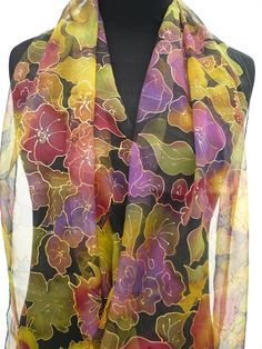 Floral chiffon scarf hand painted pure silk black purple green gold sheer Summer jewel silk scarf multicolored flowers for evening dress by Irisit on Etsy