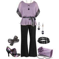 Plus Size Work in Lavender & Black, created by elise1114 on Polyvore - Don't care for the shoes, but the outfit is adorable!