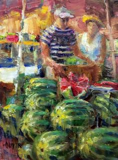 Farmers Market #8, painting by artist Julie Ford Oliver