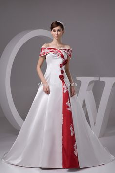 Red And White Wedding Dresses With Floor Length Strapless Lace Cap Sleeve Non Traditional