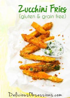 Zucchini Fries - Gluten Free, Grain Free, Made with Coconut Flour // deliciousobsessions.com
