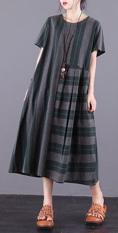 Women green Plaid cotton dress o neck patchwork pockets summer Dress - Women green Plaid cotton dress o neck patchwork pockets summer Dress Source by DressOriginal -