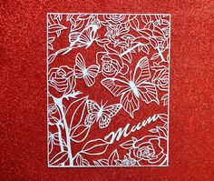 Mum Papercut with roses and butterflies by LagoDosSonhos  #Paper  #GiftforSister  #FullyPersonalized  #FloralDecor  #HandcutPapercut  #GiftforHer  #HomeDecor #butterflydecor  #Christmasforher  #BridalPartyGift  #OriginalArt  #MothersDayGift  #presentformum  #GiftforMom