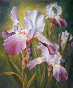 Iris Painting, China Painting, Watercolor Flowers, Watercolor Paintings, Original Paintings, Art Paintings, Iris Art, Oriental Lily, Iris Flowers