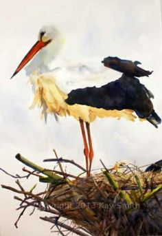 Special Delivery storks, painting by artist Kay Smith
