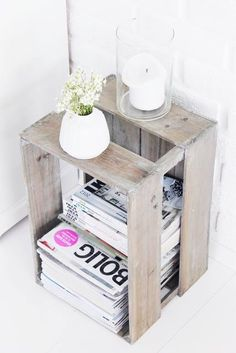 wooden crate re-purposed magazine storage Interior, Bedside Table Diy, Magazine Storage, Simple Bedside Tables, House Styles, Cheap Home Decor, Home Decor, Diy Déco, Home Deco
