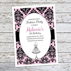 Fashionista Birthday Invitation Fashion Dress by FlairandPaper