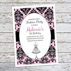 Fashionista Birthday Invitation Fashion Dress by FlairandPaper