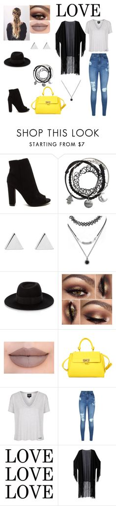 """LOVE"" by briannal-porch ❤ liked on Polyvore featuring Jennifer Meyer Jewelry, Forever 21, Maison Michel, Jeffree Star, Salvatore Ferragamo, Topshop, Lipsy and WithChic"