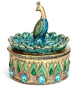 Buy Bits and Pieces - Beautiful Peacock Trinket Box - Keepsake and Jewelry Box at Discounted Prices ✓ FREE DELIVERY possible on eligible purchases. Peacock Wall Art, Peacock Decor, Jewelry Holder, Jewelry Box, Jewellery, Beaded Jewelry, Peacock Jewelry, Peacock Earrings, Clean Gold Jewelry