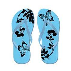 Butterfly Dance/Blue-Black > Flip Flops > Marsha's Coffee Shop
