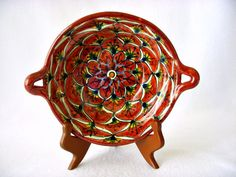 Rustic Talavera Mexico Majolica Two Handled Basket by GSaleHunter, $20.00