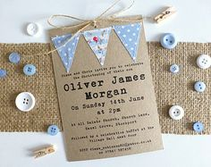 Handmade with love, cute, rustic Christening, Baptism or Naming Day invitation with stitched baby blue fabric bunting flags. Measurements the card is approximately x Printed on quality kraft card with 3 stitched fabric bunting flags. Christening Invitations Boy, Baby Boy Christening, Boy Baptism, 1st Birthday Invitations, Diy Invitations, Invite, Baby Dedication, Naming Ceremony, Baptism Party
