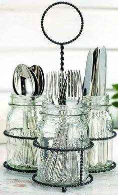 NEW Kitchen Mason Jar Flatware Caddy Cutlery Storage Holder Silverware Organizer