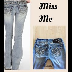 """Miss Me Boot Jeans BLING Worn twice! Sequin & metallic lace yoke & back flap pockets. 31 inseam. These jeans are in new condition.   Low rise zip fly stretch jean Slim through the hip and thigh 18"""" bottom opening  Posh Rules  No Trades   No Pay Pal  Smoke Free Home  No offers via comments please  Unless otherwise noted my clothing is gently used Miss Me Jeans Boot Cut"""