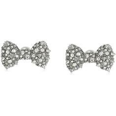 Betsey Johnson Women's Pretty Pearl Punk Spiky Bow Stud Earrings... (2,010 INR) ❤ liked on Polyvore featuring jewelry, earrings, accessories, bijoux, stud earrings, bow earrings, pearl earrings, punk rock earrings, pearl stud earrings and pearl bow earrings