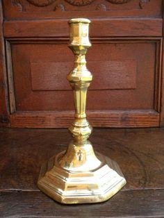 18th Century Antique Brass Seamed Candlestick, Circa 1735-1745