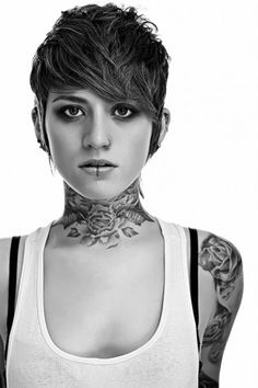 Neck tattoo and short hair!!