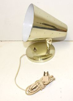 Mid Century Modern LIGHT CONE WALL MOUNT PLUG IN SCONCE metal lamp vtg GOLD