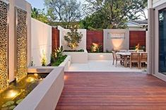Best Ideas For Patio Interiores Sencillos Courtyard Landscaping, Outdoor Landscaping, Backyard Patio, Outdoor Decking, Patio Decks, Modern Backyard, Indoor Outdoor, Outdoor Rooms, Outdoor Gardens