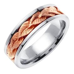 Best Diamond Engagement Rings : Image Description Two Tone Gold Leaf Pattern Wedding Band. This ring features a row of detailed rose gold leaf pattern linked to create a seamless look. The leaves are placed over a white gold ring. Leaf Wedding Band, Celtic Wedding, Wedding Ring Bands, Large Engagement Rings, Rustic Wedding Rings, Gold Wedding, Wedding White, Floral Wedding, Wedding Jewelry