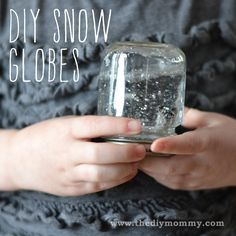 DIY Snow globes... Add some glycerin or glitter glue to make the glitter drift better and fill jar/bottle all the way to top to eliminate air bubbles.