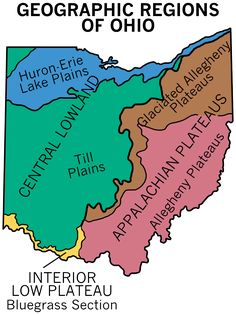 Geographic Regions of Ohio The blue area drain into the Great Lake but most of the State gos south Ohio Map, Springfield Ohio, The Buckeye State, Columbus Ohio, Akron Ohio, Newark Ohio, Ohio River, Historical Maps, West Virginia