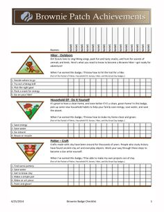 girl guide badge record sheet