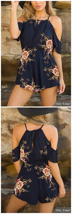 Navy Lace-up Square-neck Random Floral Print Playsuit