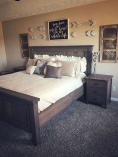 Most Beautiful Rustic Bedroom Design Ideas. You couldn't decide which one to choose between rustic bedroom designs? Are you looking for a stylish rustic bedroom design. We have put together the best rustic bedroom designs for you. Find your dream bedroom. Rustic Master Bedroom, Comfy Bedroom, Modern Bedroom Decor, Master Bedrooms, Girls Bedroom, Rustic Bedroom Furniture, Bedroom Bed, Bedroom Ideas Master On A Budget, Farm Bedroom