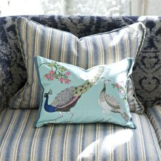 peacock flower cushion in embroidered cotton and linen